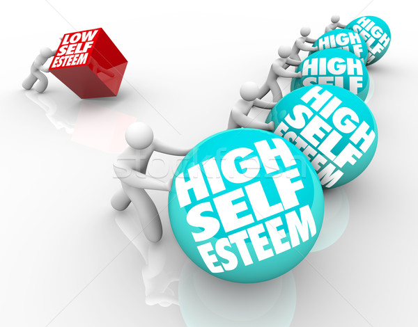 High Vs Low Self Esteem Losing Race of Confidence Attitude Stock photo © iqoncept