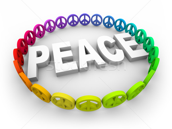 Pace simboli in giro parola molti colorato Foto d'archivio © iqoncept
