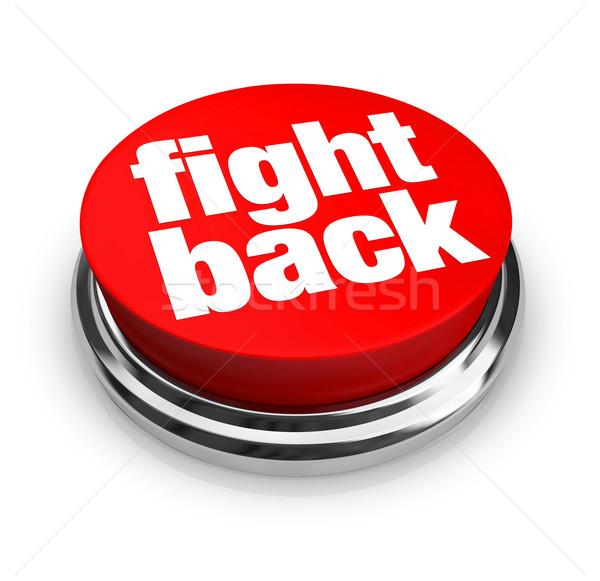 Strijd Maakt een reservekopie Rood knop paars woord Stockfoto © iqoncept