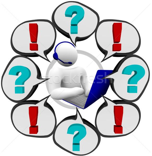 Pytania obsługa klienta operatora obsługa klienta działalności telefonu Zdjęcia stock © iqoncept