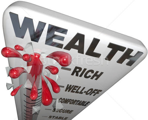 Wealth Word Thermometer Rich Financial Security Stock photo © iqoncept