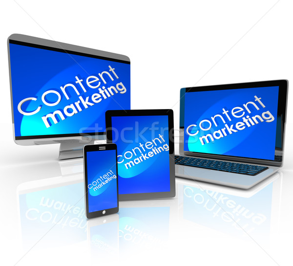 Content Marketing Digital Devices Computer Smart Phone Laptop Ta Stock photo © iqoncept