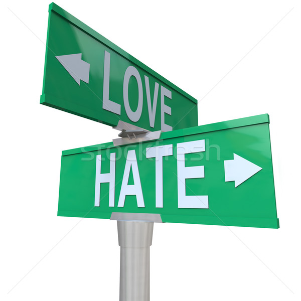Love Vs Hate Road Signs Opposite Changing Feeling Relationship Stock photo © iqoncept