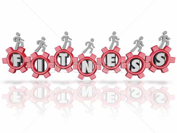 Fitness Word Team People Walking Running Jogging Letters Gears Stock photo © iqoncept