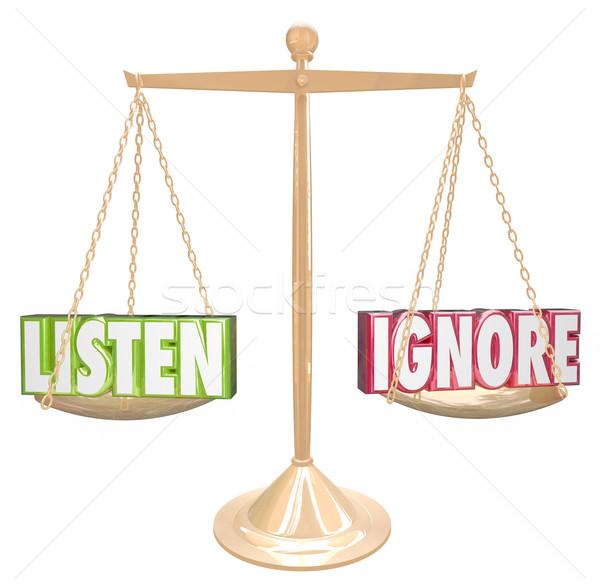 Listen Vs Ignore 3d Words Gold Scale Balance Stock photo © iqoncept