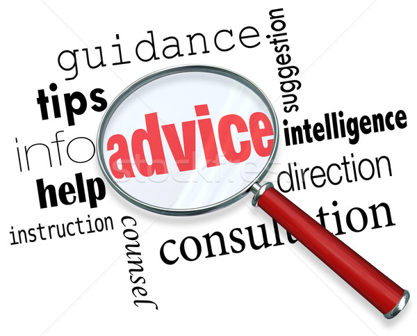 Advice Magnifying Glass Words Guidance Tips Help Information Sup Stock photo © iqoncept