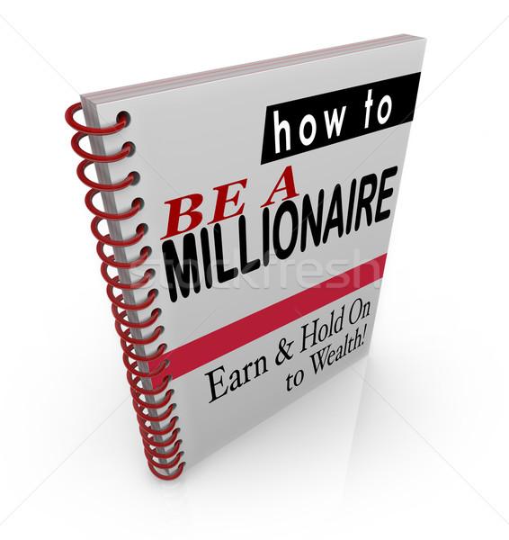 Miljonair financieel advies boeken stappen informatie titel Stockfoto © iqoncept
