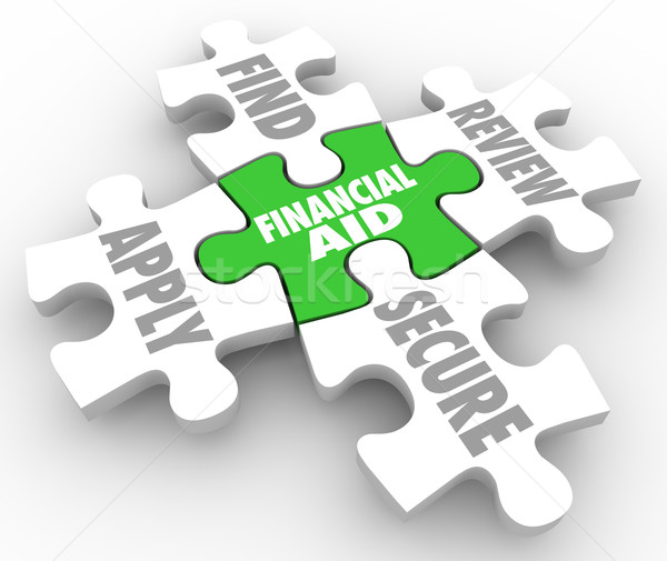 Financial Aid Puzzle Pieces Help Finding Money Pay Education Tui Stock photo © iqoncept