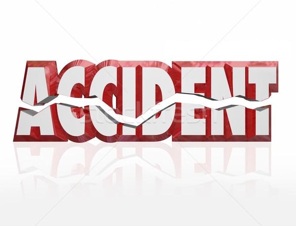 Accident 3D mot rouge lettres fissuré Photo stock © iqoncept