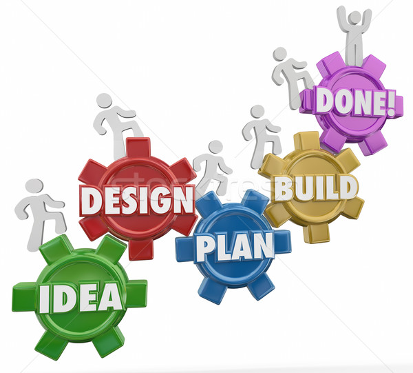 Idea Design Plan Build Done Instructions Project Job Task Comple Stock photo © iqoncept
