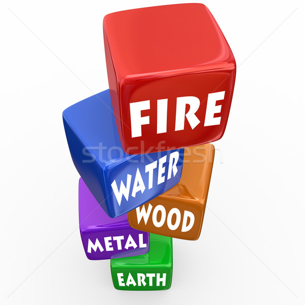 Five Elements Cubes Blocks Wu Xing Philosophy Stock photo © iqoncept