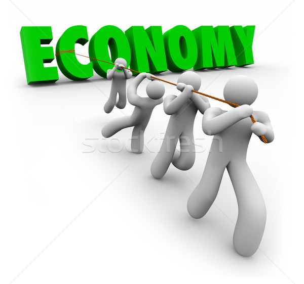Economy Word Pulled by Customers Workers Improve Financial Growt Stock photo © iqoncept