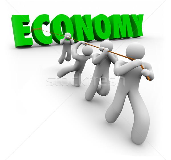 Economía palabra clientes trabajadores financieros Foto stock © iqoncept