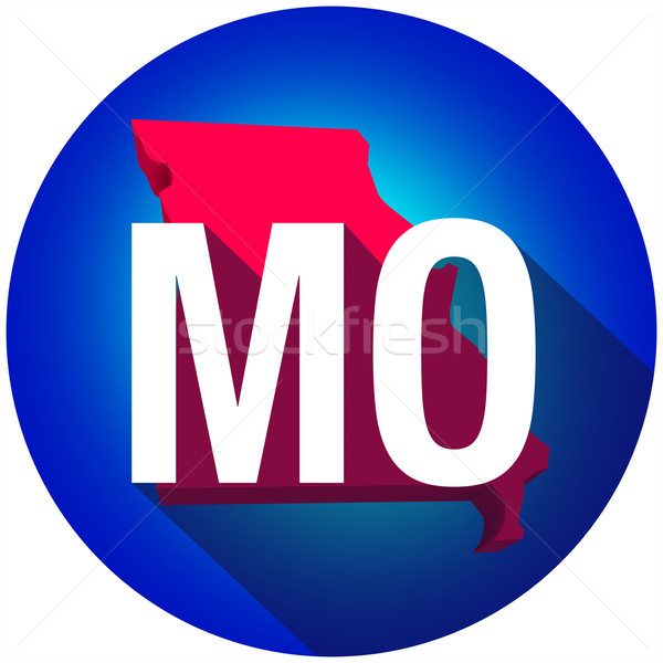 Missouri MO Letters Abbreviation Red 3d State Map Long Shadow Ci Stock photo © iqoncept