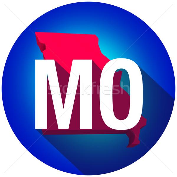 Missouri cartas abreviatura vermelho 3D mapa Foto stock © iqoncept
