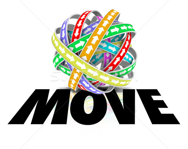 Move Word Ball Sphere Arrows Motion Forward Mobility Stock photo © iqoncept