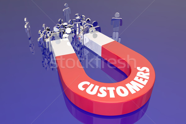 Customers Magent Attracting New People Prospects Word Stock photo © iqoncept