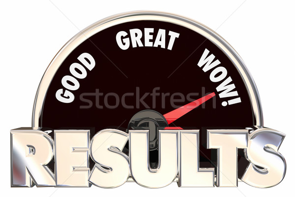 Results Positive Outcome Speedometer Measuring Success 3d Words Stock photo © iqoncept
