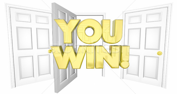 You Win Lucky Choice Open Door Words 3d Illustration Stock photo © iqoncept