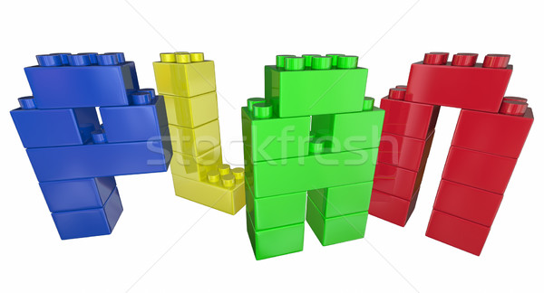 Plan Strategy Tactics Vision Building Blocks 3d Illustration Stock photo © iqoncept