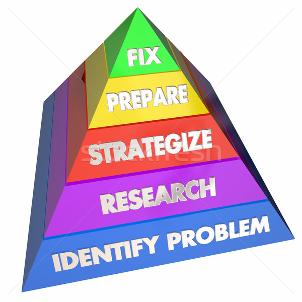 Fix Solve Problem Repair Issue Steps Pyramid 3d Illustration Stock photo © iqoncept