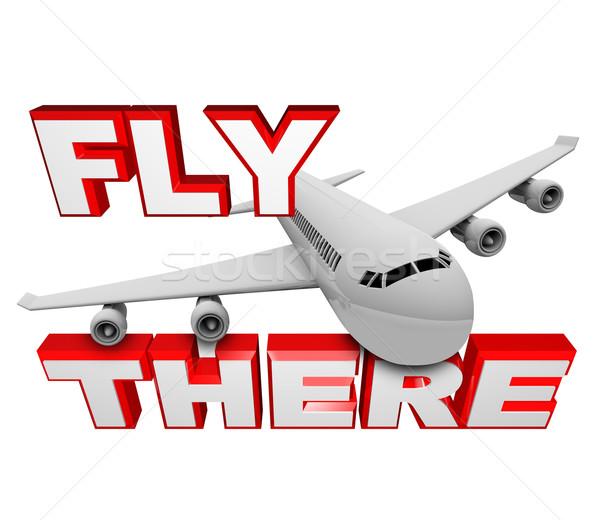 Foto d'archivio: Volare · jet · aereo · viaggio · parole · sopra