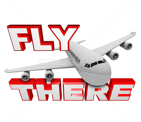 лет Jet самолет путешествия слов Сток-фото © iqoncept