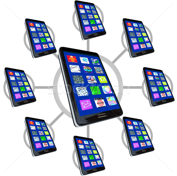 Stock fotó: Hálózat · okos · telefonok · appok · kommunikál · sok