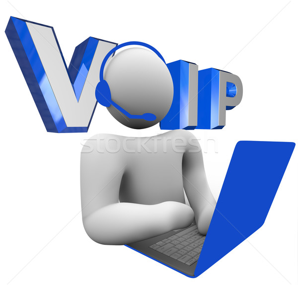 VOIP Person Talking on Computer Voice Over Internet Protocol Stock photo © iqoncept