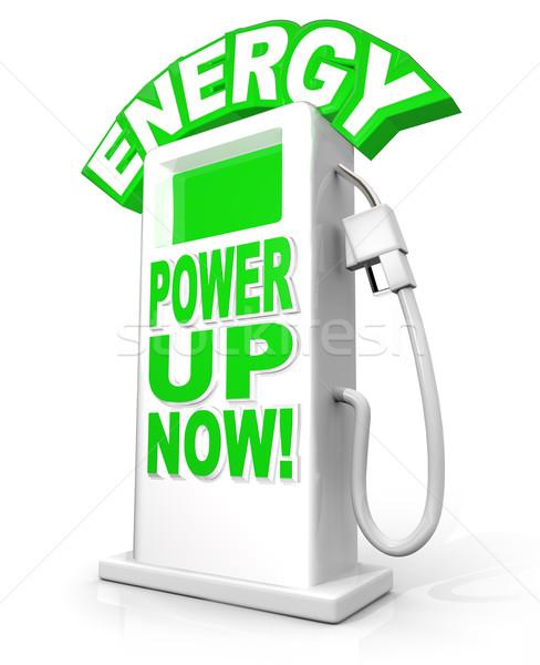 Energia erő felfelé most benzinpumpa szavak Stock fotó © iqoncept