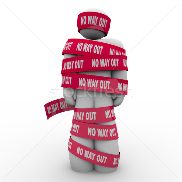 No Way Out Man Wrapped Up in Red Tape Hopeless Stock photo © iqoncept