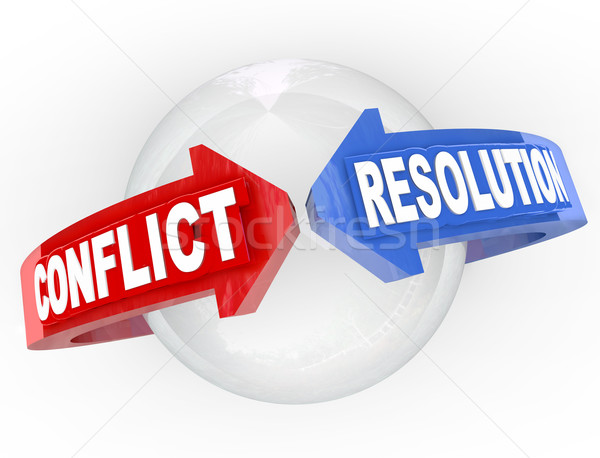 Stock photo: Conflict Resolution Resolve Dispute Arrows Meet Agreement