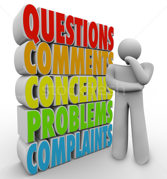 Stock photo: Questions Comments Concerns Thinking Person Words