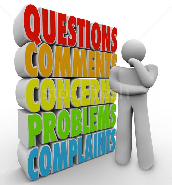 Foto stock: Perguntas · comentários · pensando · pessoa · palavras · homem
