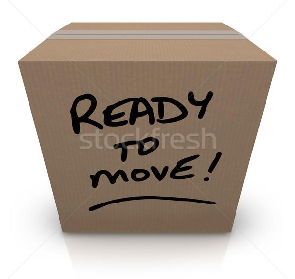 Gotowy przenieść karton ruchu słowa napisany Zdjęcia stock © iqoncept