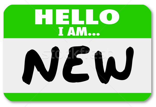 Hello I am New Nametag Sticker Rookie Trainee Stock photo © iqoncept