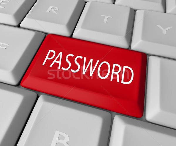 Kennwort Schlüssel rot Taste Computer-Tastatur Sicherheit Stock foto © iqoncept