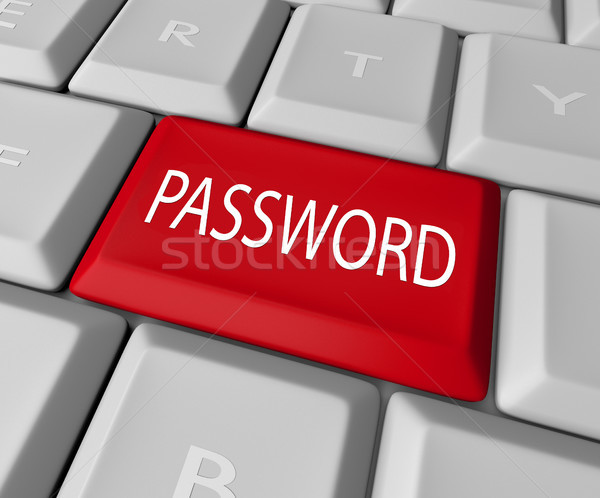 Wachtwoord sleutel Rood knop veiligheid Stockfoto © iqoncept