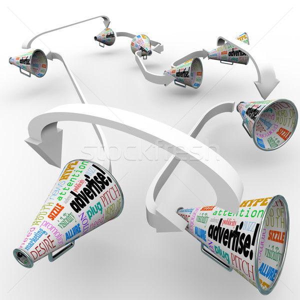 Stock photo: Advertise Bullhorn Megaphones Connected Spreading Marketing Mess