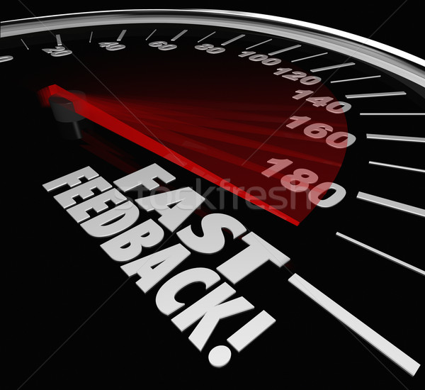 Fast Feedback Words Speedometer Instant Answer Reply Response Stock photo © iqoncept
