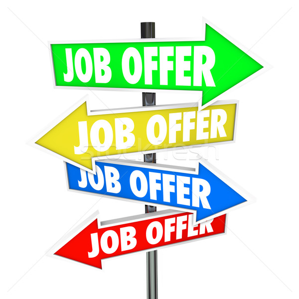 Job Offers Arrow Signs Several Choices Directions Decide Career  Stock photo © iqoncept