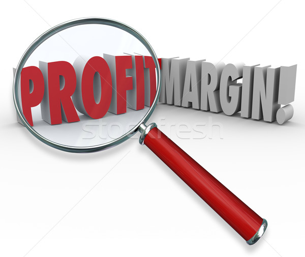 Stock photo: Profit Margins Magnifying Glass Words Big Earnings Zoom Earned I