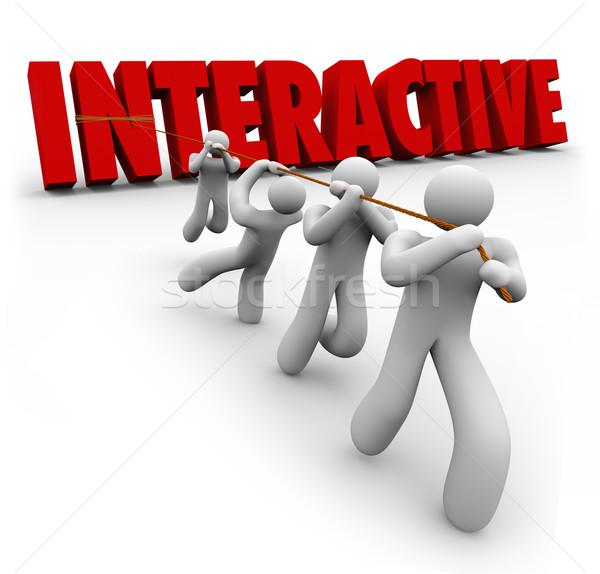 Stockfoto: Interactieve · woord · omhoog · team · Rood