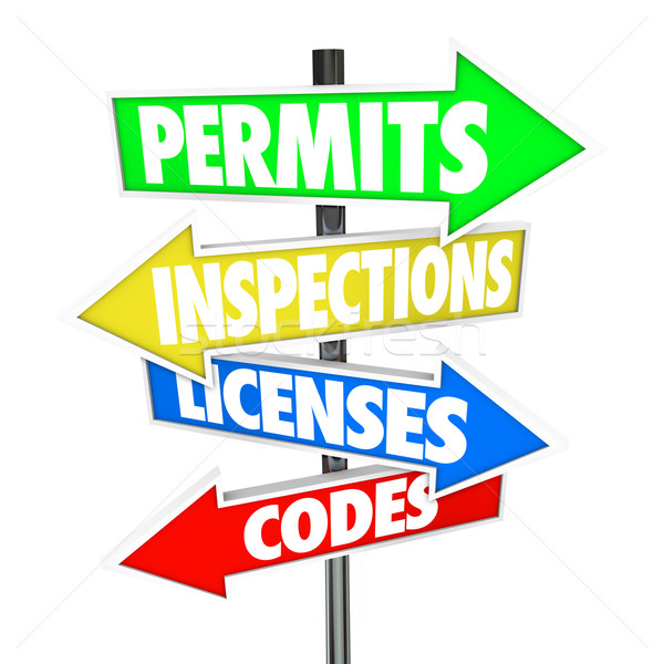 Permits Inspections Licenses Codes Words Arrow Road Signs Stock photo © iqoncept