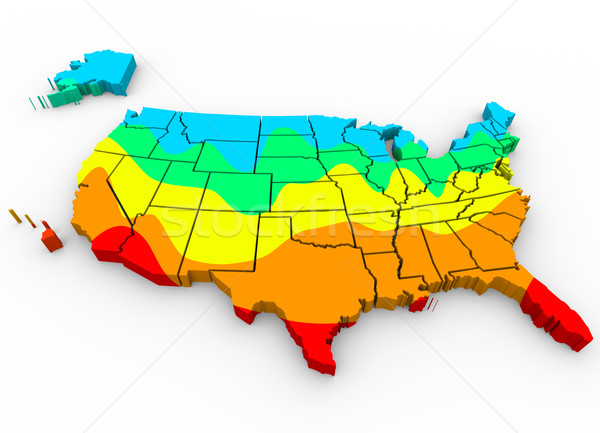 United States America Map Average Temperatures Hottest Coldest R Stock photo © iqoncept