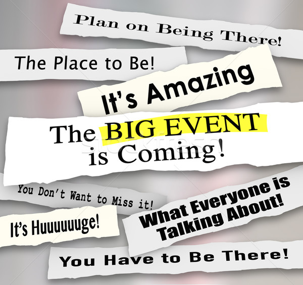 Big Event Headlines Newspaper Announcements Advertising Message Stock photo © iqoncept