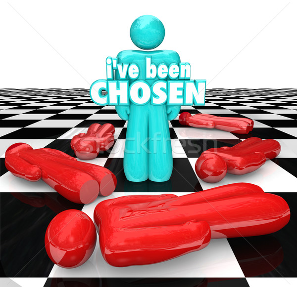 I've Been Chosen 3D Words Last Chess Person Piece Standing Stock photo © iqoncept