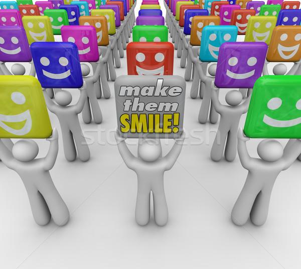Gyártmány mosoly szavak emberek boldog jó Stock fotó © iqoncept