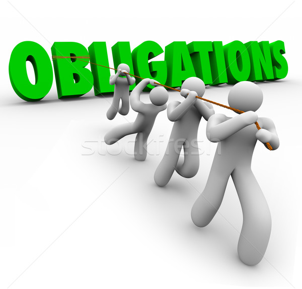 Obligations Word Pulled Up by Team Workers Together Stock photo © iqoncept