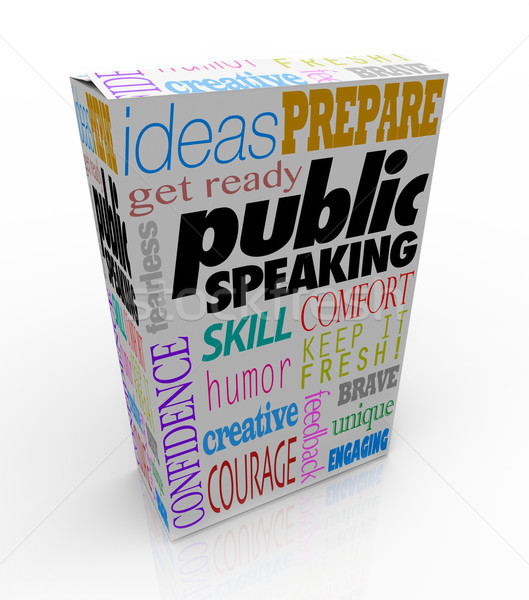 Public Speaking Words Product Package Box Training Help Advice Stock photo © iqoncept